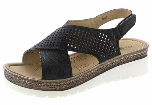 Damen Sandale Sandalette Keilabsatz Wedges Sommer Freizeitschuhe 6603 schwarz