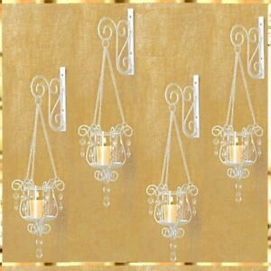 Details About 4 Pendant Sconce White Ivory Hanging Candle Holder Wall Decor