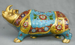 16-8-034-CLOISONNE-CHINOIS-VIEUX-Bronze-Fengshui-Rhinoceros-Betail-Sculpture-Animal
