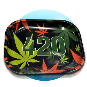 Drehunterlage-Rolling-Tray-Schaber-Magnet-Tabak-Dreh-Tablett-Drehen-420-black