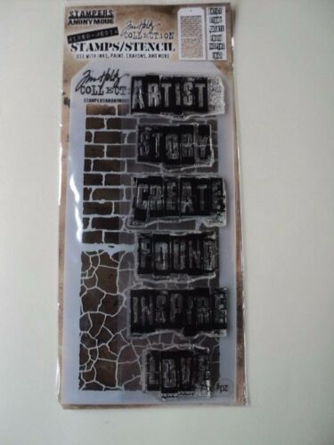 TIM HOLTZ COLLECTION STAMPERS ANONYMOUS MIXED-MEDIA STAMPS//STENCIL THMM102 BNIP