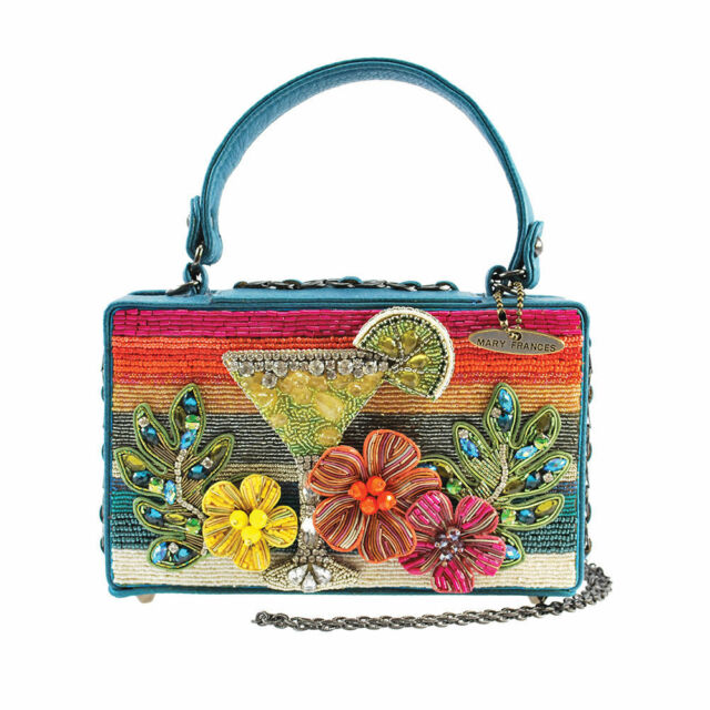 Mary Frances Handbag Beach Party Hand Beaded Flower Leaf Purse Shoulder Bag