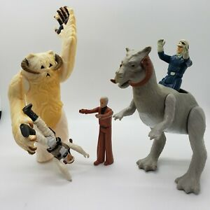 Vintage-Star-Wars-Wampa-Luke-Tauntaun-AND-Han-Solo-Action-Figure-Lot-of-5