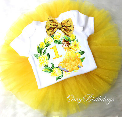 First 1st Birthday Princess Belle Yellow Gold Headband Tutu Outfit Set Baby