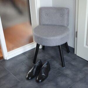 POLSTERHOCKER-mit-Lehne-GRAU-Schuhbank-Hocker-rund-gepolstert-Flur-bequem-Schuhe