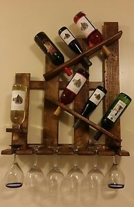 Wine Rack Shelf Glass Holder Distressed Reclaimed Wood Wall