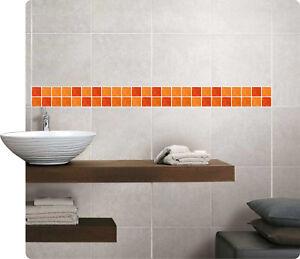 Mosaik Bordüre Orange Fliesenaufkleber Fliesenbild Fliesen Sticker ...