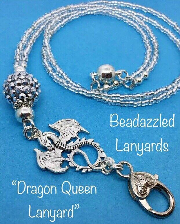 Beaded Lanyard,Dragon Queen ID Pass Holder,Cruise Pass Lanyard,Security Pass, L3