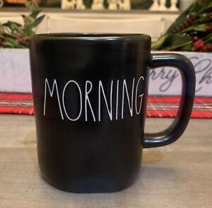 Rae Dunn - By Magenta - LL MORNING - Black Ceramic Coffee Tea Mug