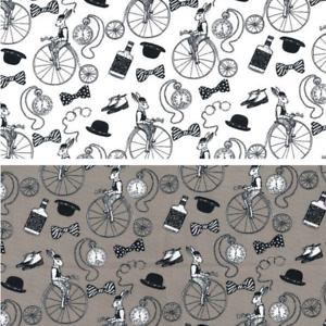 100/% Algodón Popelín Tela Rose /& Hubble Victoriano Conejo Penny Farthing Bicicleta