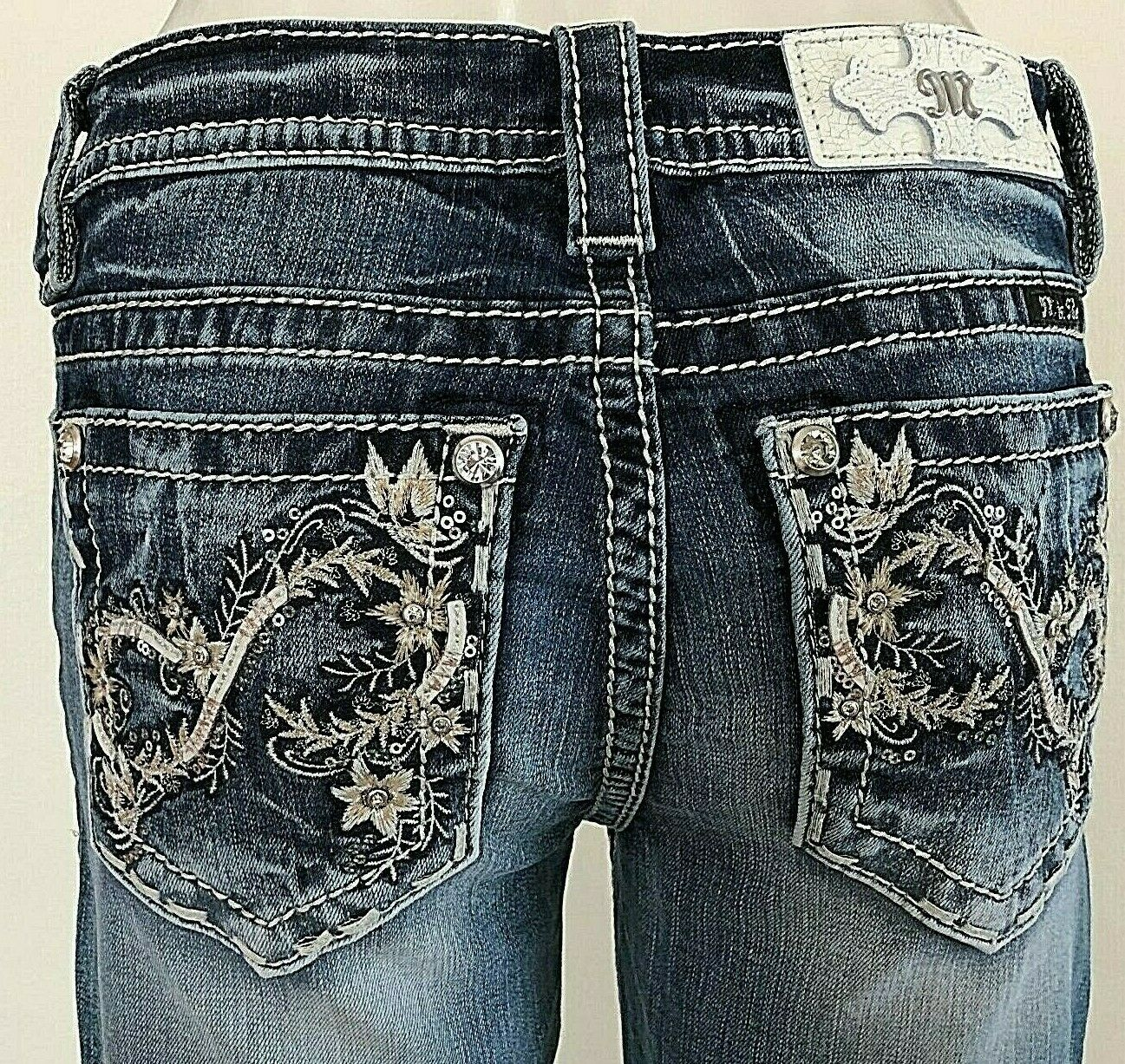 NEW MISS ME JEANS WITH TAG M 3344 B BOOT CUT INSEAM 34  MEDIUM WASHED