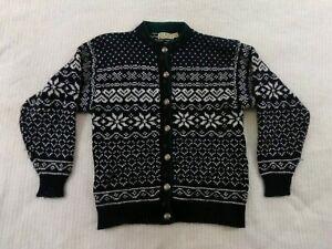 Vintage-LL-Bean-Women-Cardigan-Sweater-Size-M-Medium-Gray-Wool-Nordic-Fair-Isle