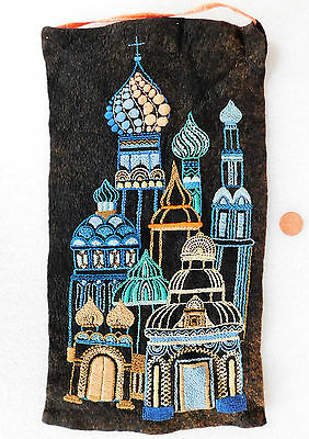 Russian hand embroidery picture Cathedral church onion domes Wall hanging 18x9""