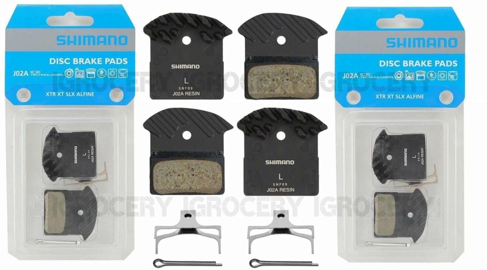 2 Pairs Shimano J02A Resin Disc Brake Pad w  Cooling Fin & Spring XTR BR-M9020