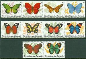 EDW1949SELL-BURUNDI-1984-Sc-611-15-Butterflies-Scarce-set-of-pairs-Cat-630
