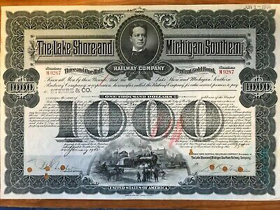 New York Central /& Hudson River Railroad Bond Stock Certificate RR Lake Shore