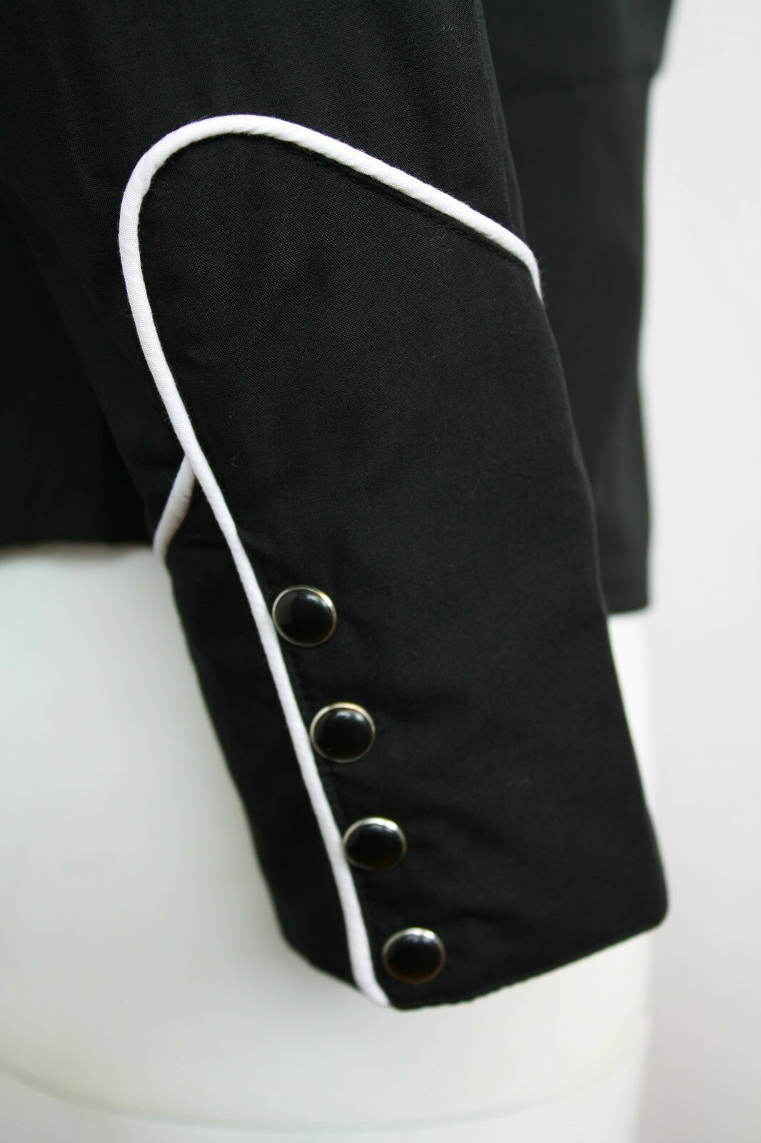 Relco Tinta Unita Nera Western Western Western Cowboy a Profilo Bianco Camicia a Maniche Lunghe 656920
