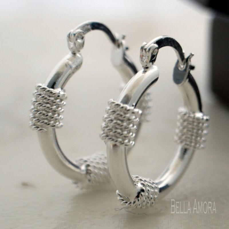 Stamped 925 Sterling Silver Plated Hoop Twist Rope Earrings - 25mm - Uk New 33