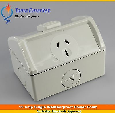 15 Amp IP53 Weatherproof Single GPO Power Point 15A Socket Weather Proof Outlet