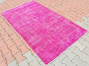 Vintage-Turkish-Oushak-Fuchsia-Pink-Color-Overdyed-Hand-knotted-Area-Rug-4x7-ft