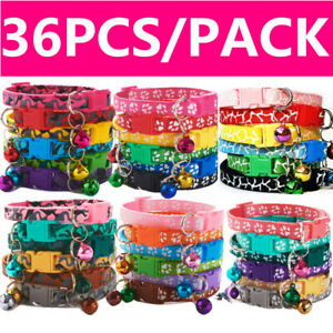 x-36-Adjustable-Dog-Collars-Set-Puppy-Collar-Cats-Bell-Small-Pet-Bundle-36-Lot
