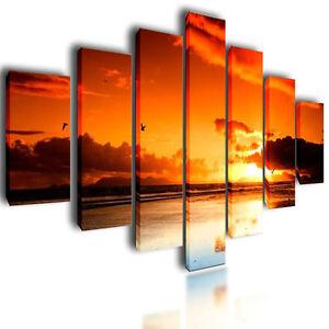 huge xxl canvas prints wall art pictures image orange sunset photo