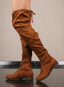 Flache-Damen-Overknee-Stiefel-aus-Velours-Camel-F107