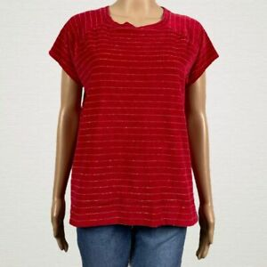 Liz-Claiborne-Striped-Plush-Velour-Shirt-Top-MEDIUM-Bright-Red-Gold-Metallic