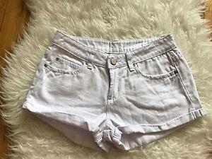 Uk 6/eu 34 Ein BrüLlender Handel Kleidung & Accessoires Vorsichtig Asos Petite Hose Mit Bündchen Weiß Denim Jeans Shorts ~ Us 2