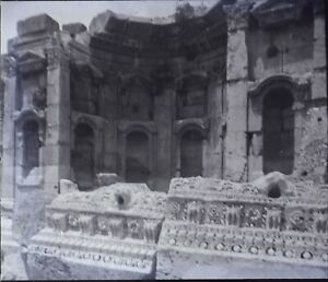 Libano Baalbek Ruines Tempio, Negativo Foto Stereo Placca Lente PL59OY4