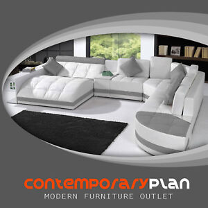 Cool Details About Miami Contemporary Leather Sectional Sofa Set Curved Modern Design White Grey Gmtry Best Dining Table And Chair Ideas Images Gmtryco