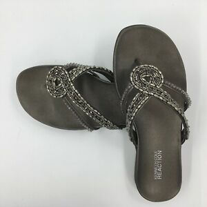 Sandals-Kenneth-Cole-REACTION-size-6-5-M-Glam-Life-beaded-pewter-original-box