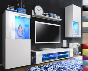 Details zu Wohnwand Anbauwand Wohnzimmer Möbel TV-Wand Hochglanz Front Weiß  glänzend Movie