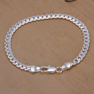 Men-039-s-Silver-Plated-New-Snake-Chain-5mm-Width-Bangle-Jewelry-Trendy-BraceletNYFK