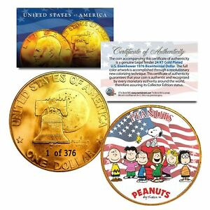 1976-PEANUTS-SNOOPY-24K-Gold-Plated-IKE-Dollar-Each-Coin-Serial-Numbered-of-376
