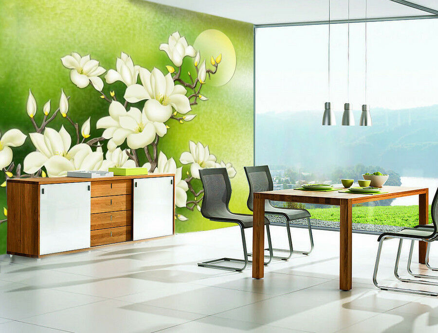 3D Weiß Flower 87 Wallpaper Mural Wall Print Wall Wallpaper Murals US Carly