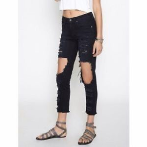 online shop largest selection of 2019 united states Details about $216 LF CARMAR MIA CUTOUT KNEE CROP SKINNY DENIM  JEANS~RIPPED/DESTROYED~27~BLACK