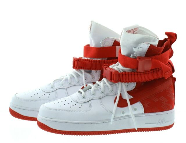 Nike SF Air Force 1 Size 10 US High Boot White Red Ar1955 100 Af1