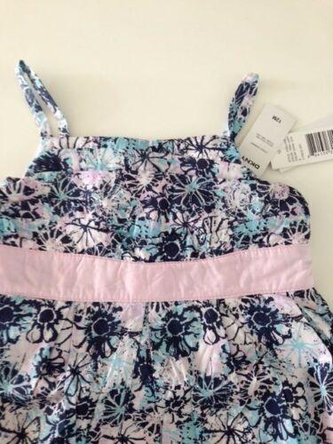 DKNY NWT Infant Girls Dress Flower Print 12 18 24 Pink Sun Tank Floral Blue