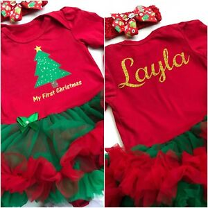 image is loading personalise baby girls first christmas tree tutu romper