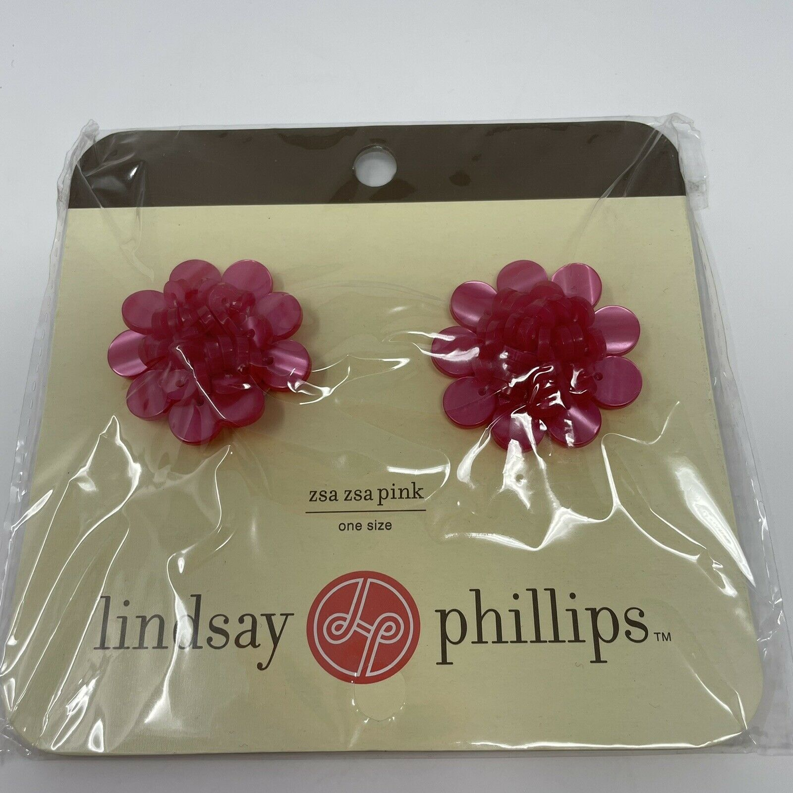New LINDSAY PHILLIPS Shoe SNAPS Charms ZSA ZSA Pink Pearlized Button FLOWERS