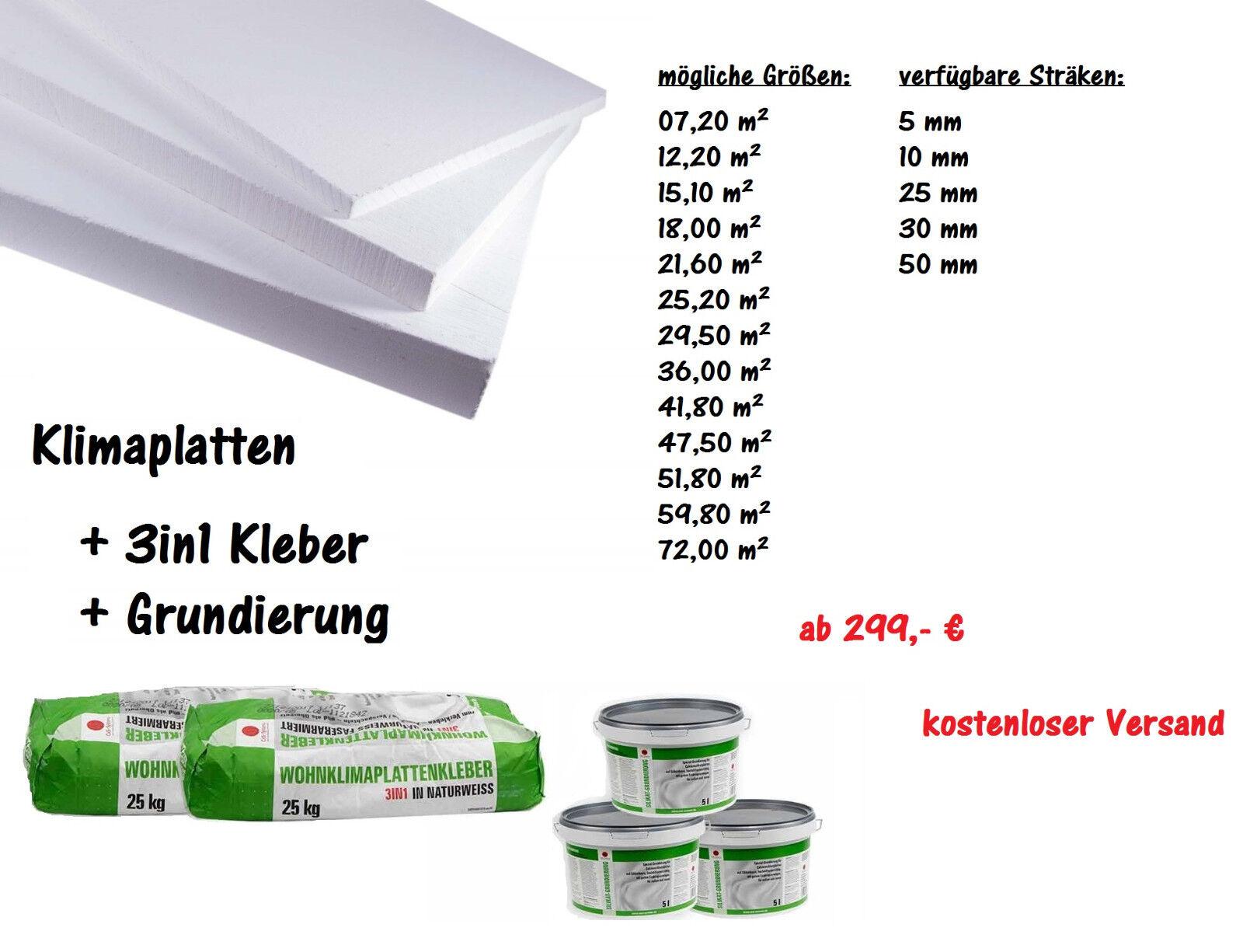 Renovierset Klimaplatten - aus Calciumsilikat 30 mm inkl. Kleber & Grundierung