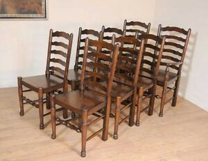 Image Is Loading Set 8 Oak Ladderback Chairs Kitchen Dining Chair