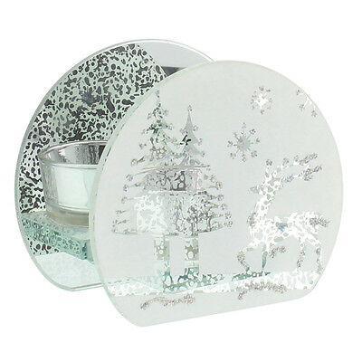 Christmas Festive REINDEER Arched Glass Candle T Lite Holder