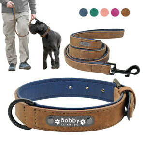 Personalised-Leather-Dog-Collar-amp-Leash-Custom-Soft-Padded-ID-Name-Engraved-S-2XL