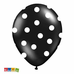 compleanno party festa crazy birtdhay Set 50 pz Palloncini Bianchi pois Neri
