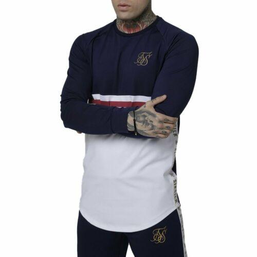 Camiseta manga larga SikSilk Taped Performance Crew Rojo Hombre