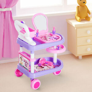 HOMCOM-Dresser-Trolley-Makeup-Role-Play-Toy-Creative-Fun-DIY-Purple-amp-Pink