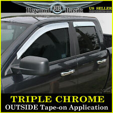 2009-2016 RAM 1500 EXTENDED QUAD Cab Chrome Door Visors Window Vent Guards