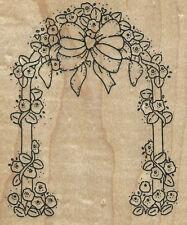 WEDDING GARDEN ARCH FLOWERS BOW X-LARGE JRL Design V120 Wood Mount RUBBER STAMP